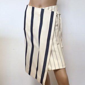 NWT Jason Wu Striped Cotton Faux Wrap Skirt 2